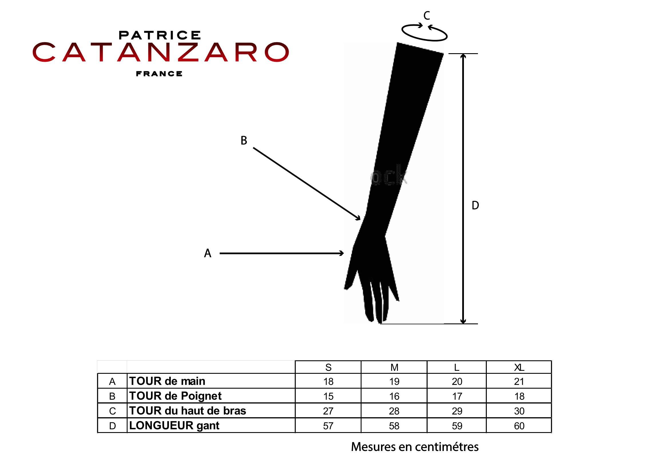 Guide des tailles gants Catanzaro